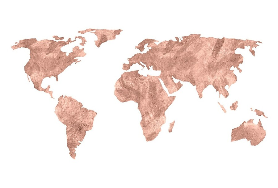 World map rose gold pink vintage art boards by naturemagick redbubble world map rose gold pink vintage gumiabroncs Gallery