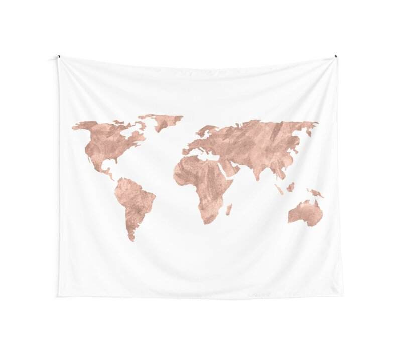 World map rose gold pink vintage wall tapestries by naturemagick world map rose gold pink vintage by naturemagick gumiabroncs Gallery