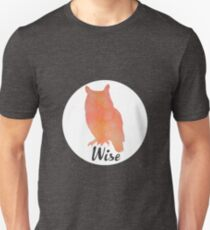 Wise Owl - Woodland Doodles Watercolor Design Unisex T-Shirt