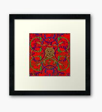 Decorative lattice with a lion in classic style Framed Print