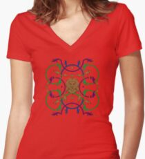 Decorative lattice with a lion in classic style Women's Fitted V-Neck T-Shirt
