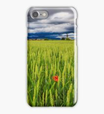 Evening storm over the medieval village iPhone Case/Skin