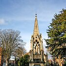 The monument to Bishop Hooper in Gloucester by Jeff  Wilson