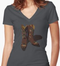 Brown leather cowboy boots with flower designs - shadow Women's Fitted V-Neck T-Shirt