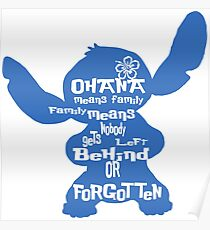Stitch Ohana means family Poster