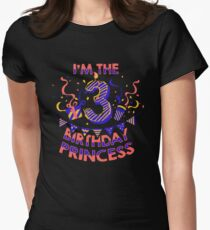 Girls Gift Shirt For A Three Year Old Princess Birthday Party Kids T-Shirt Womens Fitted T-Shirt