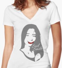 Sad Smile 1 Women's Fitted V-Neck T-Shirt