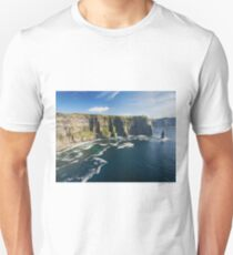 Aerial Ireland countryside tourist attraction in County Clare. The Cliffs of Moher and Burren Ireland. Epic Irish Landscape Seascape along the wild atlantic way. Beautiful scenic nature Ireland Unisex T-Shirt