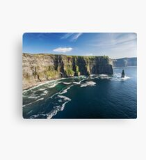Aerial Ireland countryside tourist attraction in County Clare. The Cliffs of Moher and Burren Ireland. Epic Irish Landscape Seascape along the wild atlantic way. Beautiful scenic nature Ireland Canvas Print