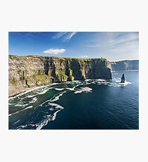 Aerial Ireland countryside tourist attraction in County Clare. The Cliffs of Moher and Burren Ireland. Epic Irish Landscape Seascape along the wild atlantic way. Beautiful scenic nature Ireland Photographic Print