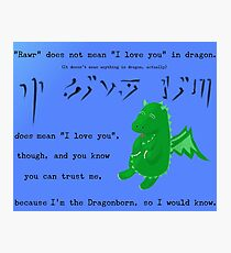 The Dragonborn Loves You. Photographic Print