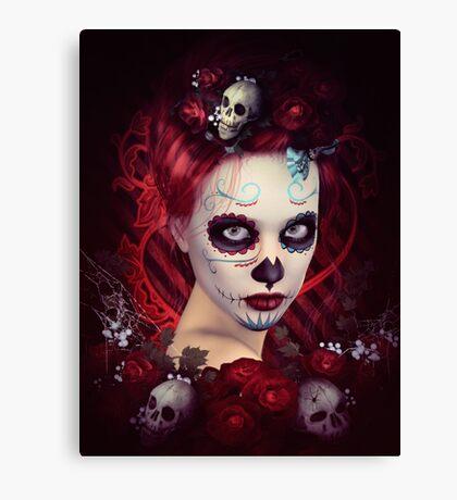Sugar Doll Red Dia De Muertos Canvas Print