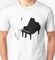 Cute Cat Playing Piano Funny Musician Art Gift Unisex T-Shirt