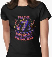 Girls Gift Shirt For A Seven Year Old Princess Birthday Party Kids T-Shirt Womens Fitted T-Shirt