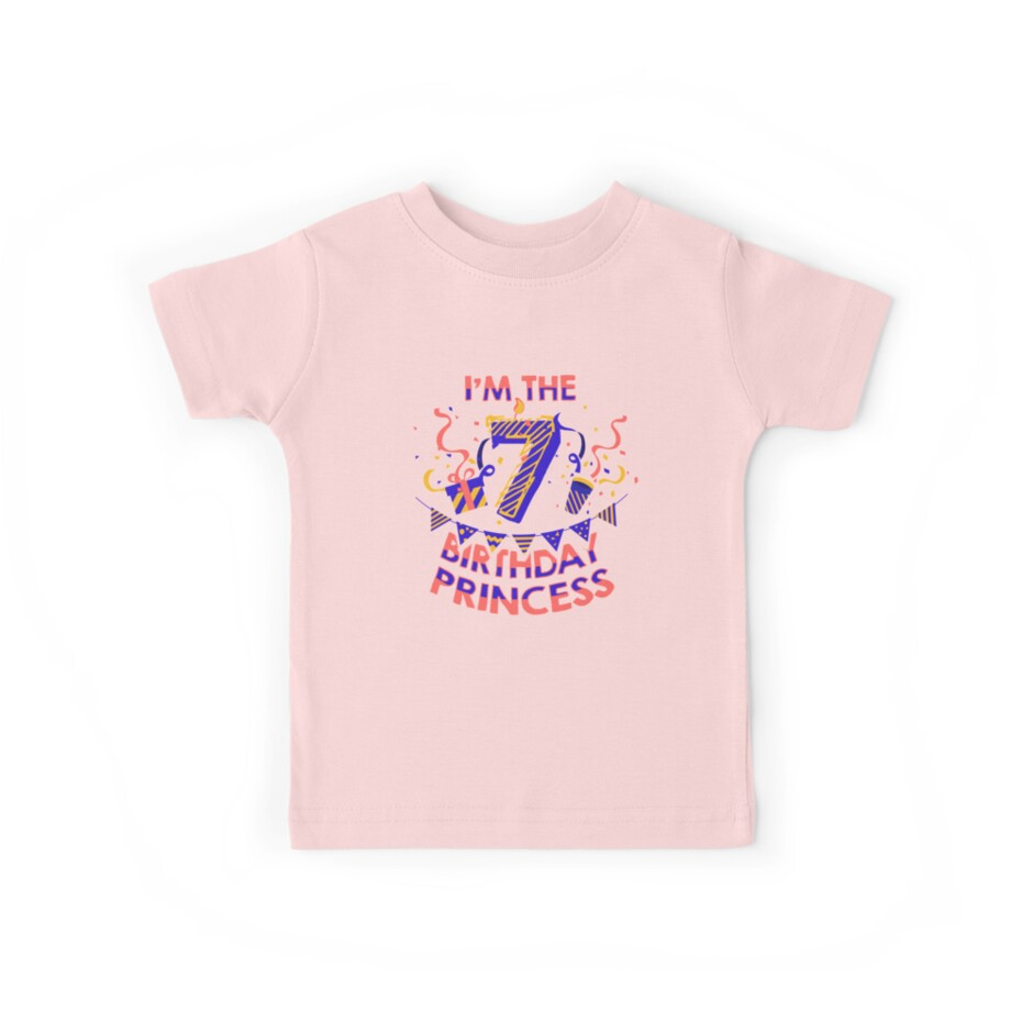 Happy Birthday 7th Princess Girls Party Kids