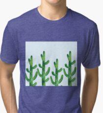 Cyan blue - field of cacti Tri-blend T-Shirt