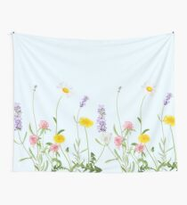 Pastell Cyan - Wildblumenträume Wandbehang