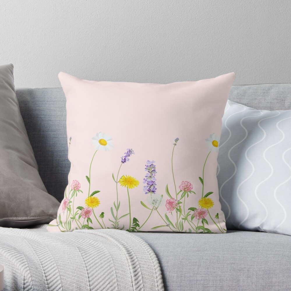 Blush pink - wildflower dreams Throw Pillow
