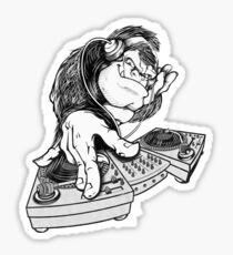 cartoon monkey DJ Sticker