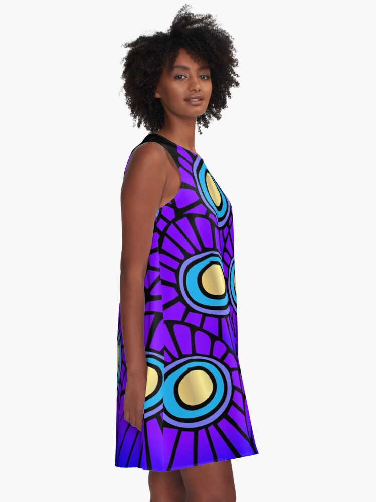 Alternate view of Peacock Feathers A-Line Dress