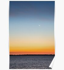 Crescent Moon over Lake Poster