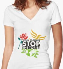 Work Together - Stop The Tories Women's Fitted V-Neck T-Shirt