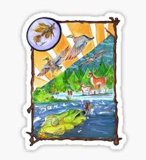 Hunting Fly Fishing Sticker