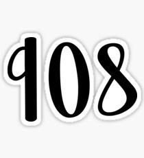 908 Area Code (Black) Sticker