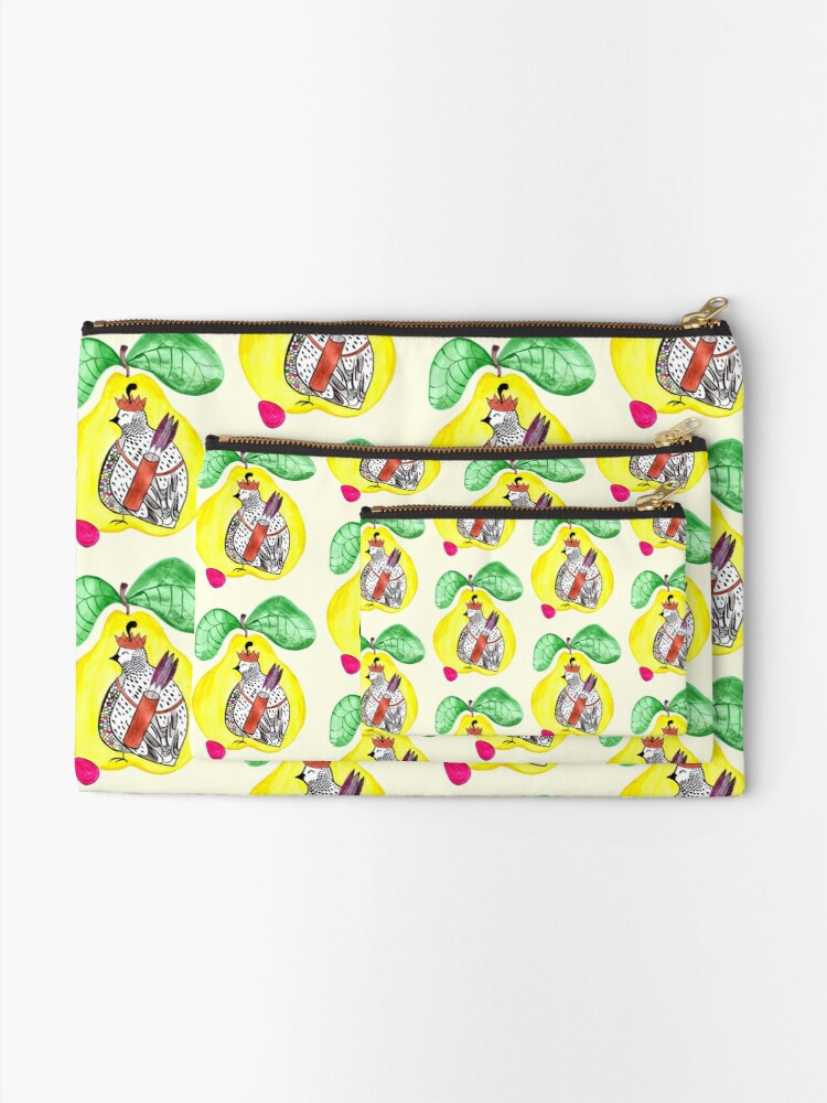 Alternate view of Quail in a Quince Zipper Pouch