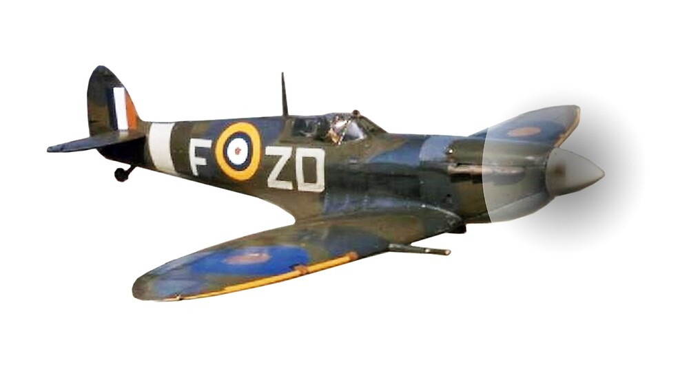 SPITFIRE, British, Airplane, Fighter, WWII, 1942, Spitfire VB, 222 Squadron, cut out by TOM HILL - Designer