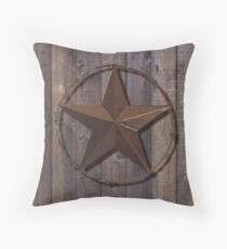 Primitive Barn Wood Lone Star State of Texas Star Throw Pillow