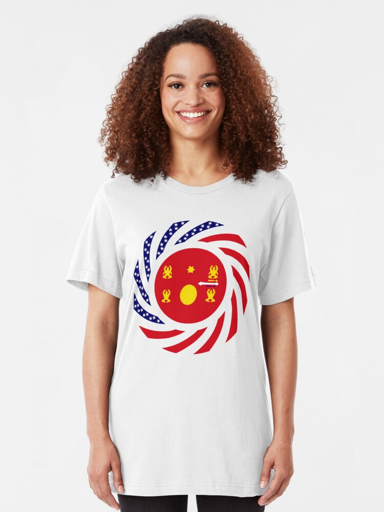 Alternate view of Hmong American Multinational Patriot Flag Series 1.0 Slim Fit T-Shirt