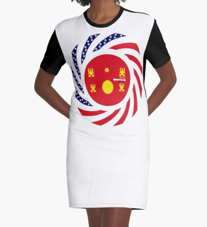 Hmong American Multinational Patriot Flag Series 1.0 Graphic T-Shirt Dress