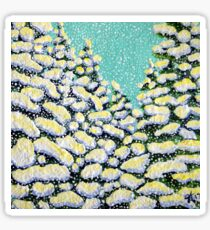 Winter Wonderland Snowing Snow Flurry Pine Trees Forest Storm Powerful Peaceful Sticker