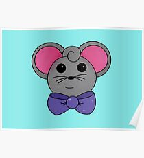 Mouse with bow tie aqua background Poster