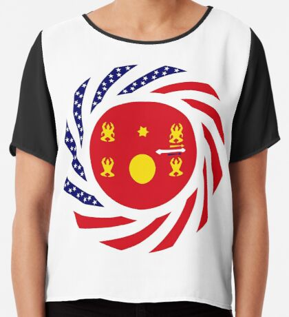 Hmong American Multinational Patriot Flag Series 1.0 Chiffon Top