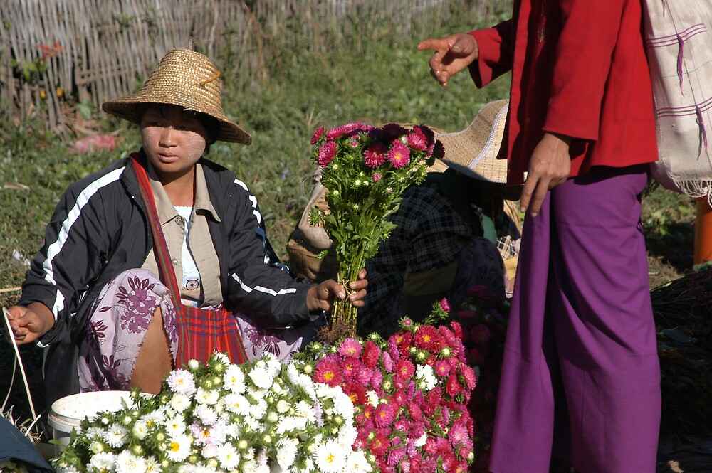 Flowers at the market in Kalaw by Dan Paulson