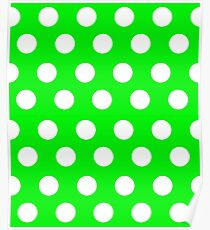 Polka over Green (large dots) Poster