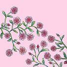 Stylised Climbing Roses on Pink Background by CarolineLembke