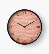 Sepia fuzzy knitted fabric textured abstract Clock