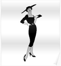 Vintage Fashion Black & White with Red Lips Poster