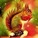 Red Squirrel in Winter by shaz