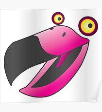 Cute pink beaker bird Poster