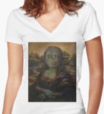 Mona Pepe Smile Women's Fitted V-Neck T-Shirt