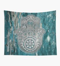 Silver Hamsa Hand  On Turquoise Wood  Wall Tapestry