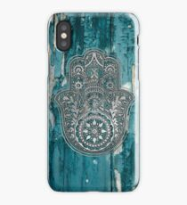 Silver Hamsa Hand  On Turquoise Wood  iPhone Case/Skin