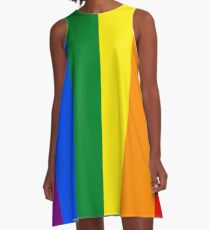 Vertical Gay Pride Rainbow Flag A-Line Dress