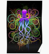 Octopus Psychedelic Luminescence Poster