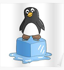 Penguin on ice Poster