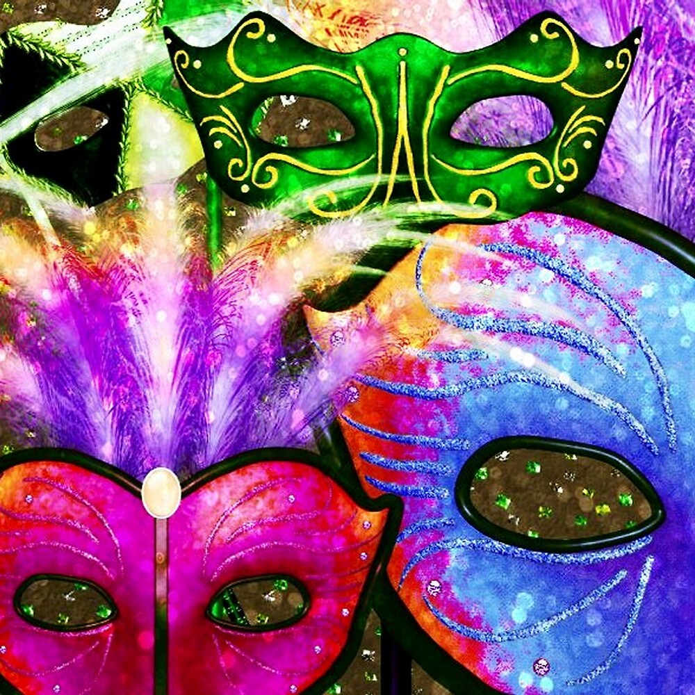 Colorful Mardi Gras Masks by HavenDesign